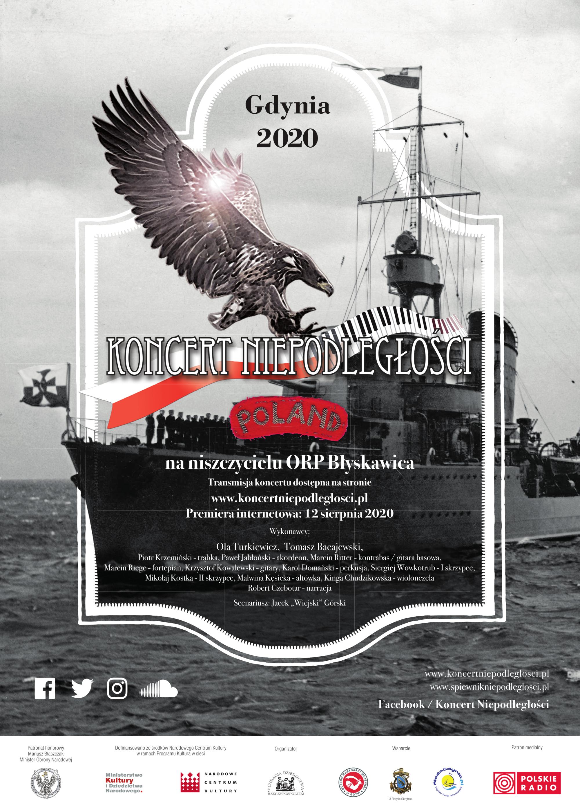 Koncert Niepodległości na ORP Błyskawica, Gdynia 2020