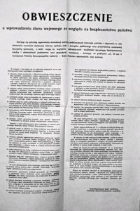 Obwieszczenie o wprowadzeniu stanu wojennego z 13 grudnia 1981 roku.