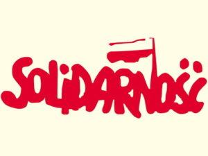 """Logo NSZZ """"Solidarność. Znak powstał podczas strajku robotników w Stoczni Gdańskiej, prawdopodobnie po 20 sierpnia 1980 r."""